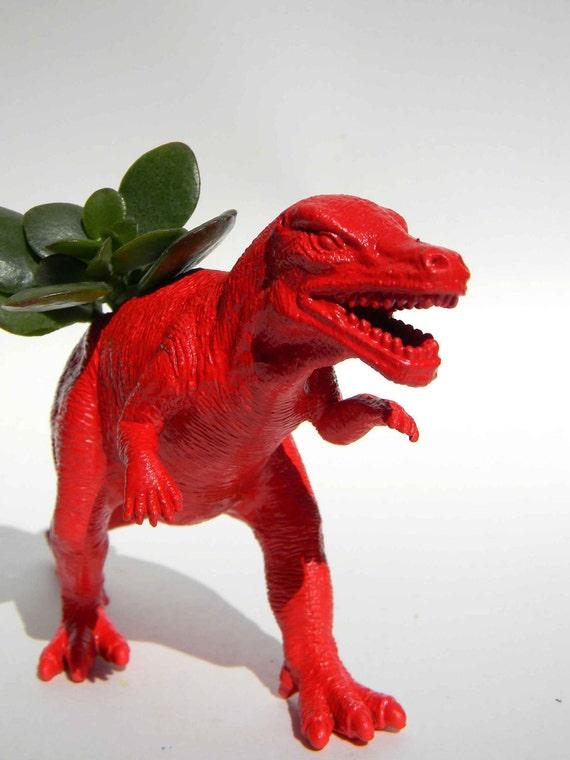 Dinosaur Planter Red for Succulent Plants Dorm Home Office Decor
