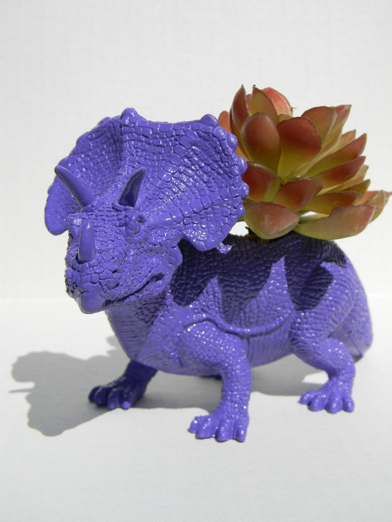 Dinosaur Planter for Succulents Room Decor, College Dorm Ornament, Plants and Edibles