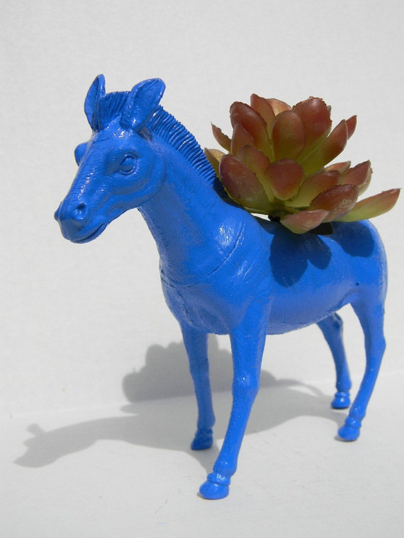 NEON Zebra Planter True Blue Great Dorm, Nursery, Decor or Baby Shower Gift Ready to Plant