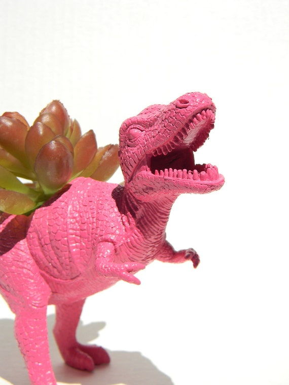 Dinosaur Planter TREX Hot Pink Green Ready to Plant and Display at Work or Home Great