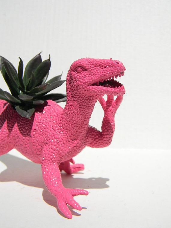 Hot Pink Dinosaur Planter Raptor Great for Succulent Plants and Small Cacti