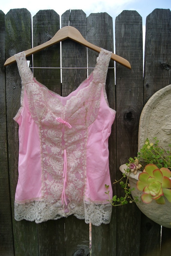 Glowing Pink and Tan Lace Camisole Vintage Slip Tank Top
