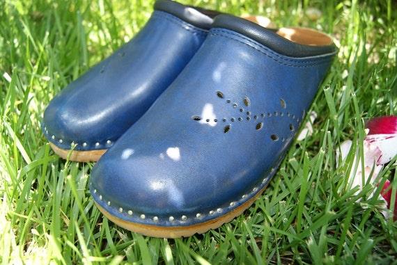 Vintage Blue Troentrorps Sweedish Wood and Leather Clogs 39 8