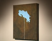 Costa Rica on a Stick map painting No. 1... I also take commissions for any state/country on a stick