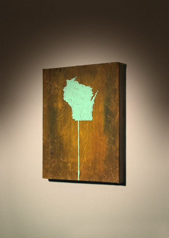 WISCONSIN ON A STICK PAINTING NO. 2... I take custom orders for any state\/country on a stick