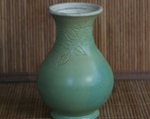 Green Vase with Carved Leaves