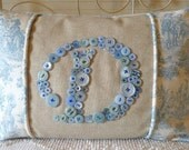 Custom Button Monogram Pillow with Sky Blue Buttons -- by Letter Perfect Designs on Etsy