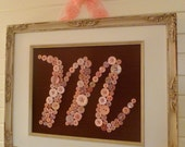 Personalized Kids Wall Art, Pink Button Letter on Brown Silk, Button Art, Baby Girl Gift, Baby Shower Gift, Ready-to-Frame or Wall Canvas