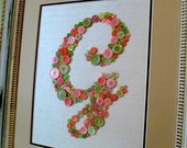Baby Nursery Wall Art, Button LETTER G Monogram on SILK, Children Wall Art, Canvas or Ready-To-Frame (frame not included)