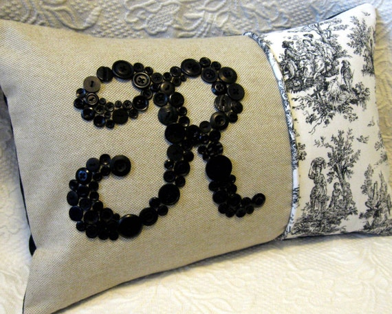 Black and White Toile Letter 'R' Pillow Monogrammed in Black Buttons -- by Letter Perfect Designs on Etsy