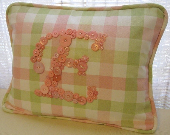 Sweet Pink Plaid Letter 'E' Pillow Monogrammed in Pink Buttons by Letter Perfect Designs on Etsy -- Any Letter A-Z Available