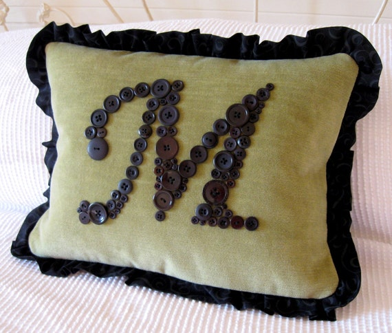 Personalized Letter 'M' Pillow Monogrammed in Black Buttons -- Reserved for 'BeesBlooms'