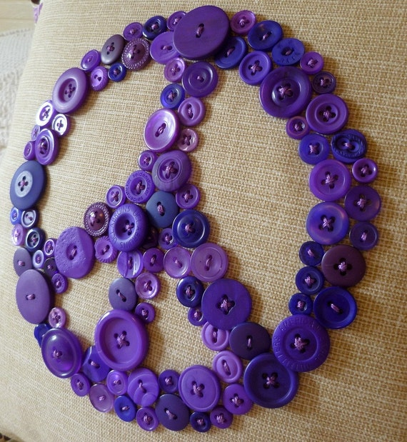 Peace Pillow in Purple Buttons -- by Letter Perfect Designs on Etsy