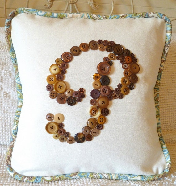 Personalized Vintage Button Monogram Pillow -- 14x14 -- by Letter Perfect Designs