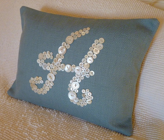 Vintage Button Monogram Pillow -- Reserved for 'katharinavst'