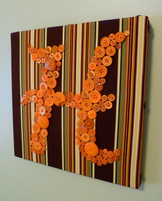 """Button Letter Wall Art in Pumpkin Orange -- 10""""x10"""" Canvas -- by Letter Perfect Designs"""