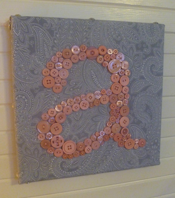 Baby Nursery Button Monogram -- Pink Buttons on Gray Paisley -- 10x10 Canvas
