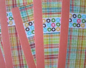 SALE Rainbow Plaid and Mod Floral Cards, Papaya, Set of 5, Retro, Preppy, Vintage Modern