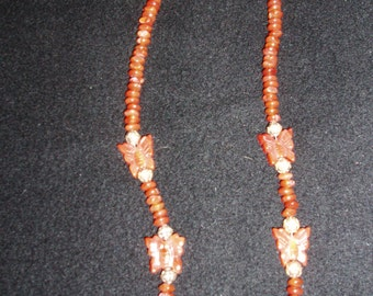 Carnelian butterflies with glass beads with Indian silver beads