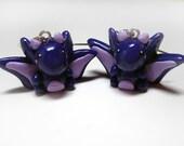 Purple Baby  Dragon Dangle Earrings