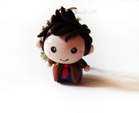 Doctor Who 10th Doctor Chibi Charm Necklace