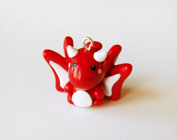 Cute Red Dragon Charm Polymer Clay Miniature By Cbexpress