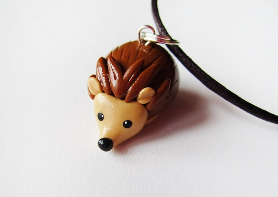 Polymer Clay Cute Hedgehog Necklace