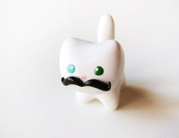 Funny Black Mustache White Cat Figure or Charm