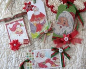 Handmade Vintage Altered Christmas Santa Gift Tag Set