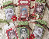Handmade Vintage Altered Christmas Gift Tag Set