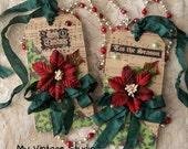 SALE SALE Set of 2 Handmade Vintage Shabby Christmas Gift Tag Winter Wedding Tag Set Velvet Flowers Ornament