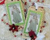 Set of 2 Handmade Vintage Christmas Gift Tag  Greetings