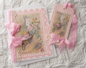 Handmade Vintage Shabby Pink Easter Card and  Gift Tag  Set