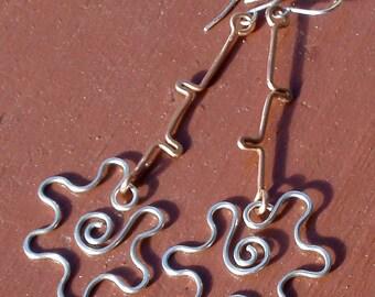 Wild Flower Copper and Sterling Long Dangle Earrings