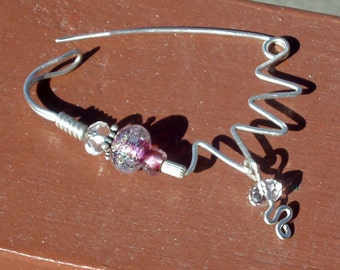 Sterling Sweater Clip Shawl Pin Fibula Brooch or Scarf Pin, Beaded with Artisan Lampwork Glass