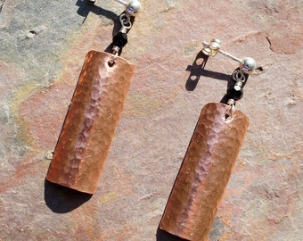Sterling Silver and Copper Dangle Earrings with Geometric Shapes and Swarovski Crystal
