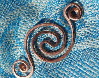 Copper Shawl Pin Fibula Brooch with Celtic Spiral  also Scarf or Kilt Pin