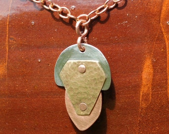 Brass, Copper and Nickel Pendant Necklace Riveted with Hammered Geometric Shapes