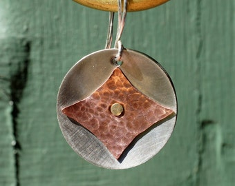 Sterling Silver, Copper, Nickel and  Brass Riveted Medallion Dangle Earrings