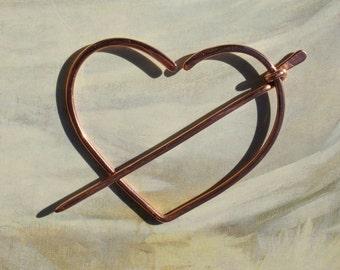 Copper Heart Sweater Clip Penannular Brooch, Fibula, Scarf Pin, Shawl Pin, Kilt Pin, Clasp