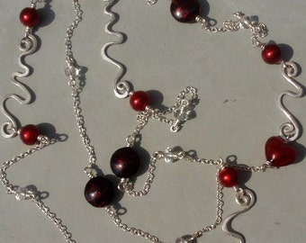 Red Venetian Glass Sterling Squiggles Long Necklace