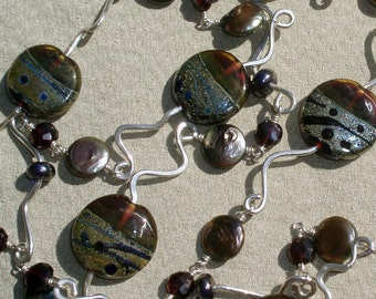 Garnet Art Glass, Gemstone and Pearl Sterling Necklace