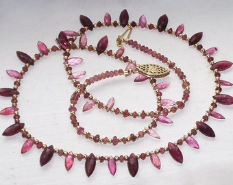 Rubellite Tourmaline Marquise Necklace