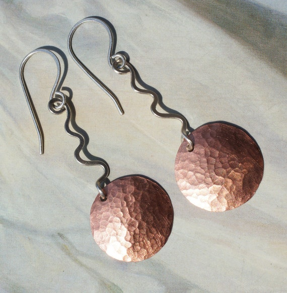 Sterling Silver and Copper Dangle Earrings with Circles and Squiggles