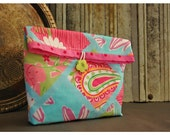 Handmade Lilly Pulitzer Large Pouch Clutch Flat Bottom Padded Kindle Make Up Beach Travel Gadget Bag Mother's Day