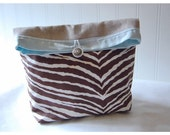 Linen and Brown Zebra Handmade Large Pouch Clutch Flat Bottom Padded  Kindle Make Up Travel Gadget Bag