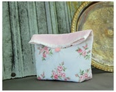 Handmade Shabby Chic Wedding Large Pouch Clutch Flat Bottom Padded Kindle Make Up Travel Gadget Bag