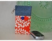 Recycled Denim Handmade iPhone, iPod Droid CASE with Flap Closure Padded Gadget Pouch Bag Quilted Cell Phone Camera