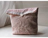 Ballet Pink Matelasse Laura Ashley Stripe Handmade Large Pouch Clutch Flat Bottom Padded Kindle Make Up Travel Gadget Bag