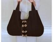 Pleated Origami Ruffle XXL Weekender Market Laptop Book Diaper Black Bag Handmade
